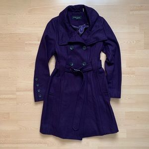 Long Purple Double-Breasted Wool Coat